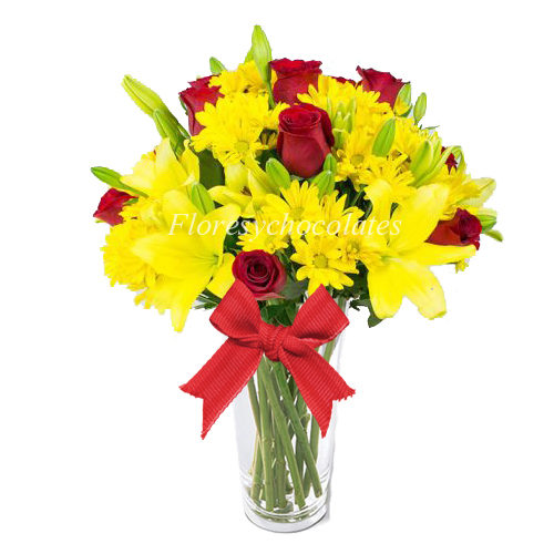 Florero flores y chocolates a domicilio en santiago