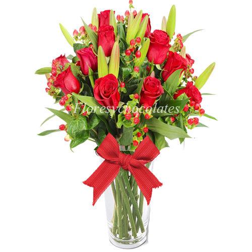 Florero flores y chocolate a domicilio en santiago