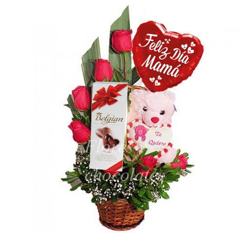 Arreglo Floral De Rosas Dia De La Mama Flores Y Chocolates