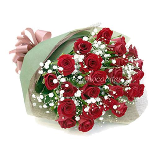 Ramo De 25 Rosas Rojas Flores Y Chocolates